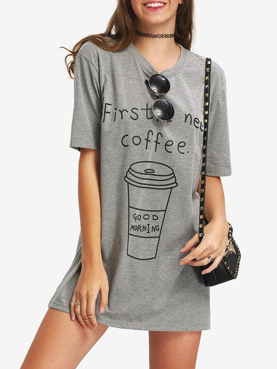 Coffee Print Mini T-shirt Dress - Crystalline
