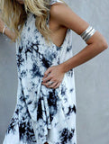 Black Sleeveless Ink Print Smoke Dress - Crystalline