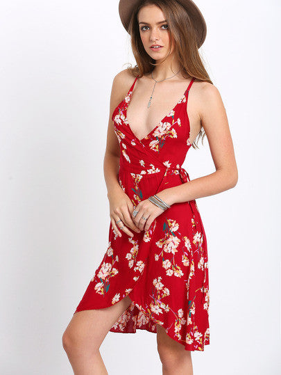 Red Deep V Neck Florals Wrap Dress - Crystalline