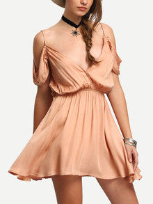 Pink Spaghetti Strap Drapped Back Peasant Dress - Crystalline