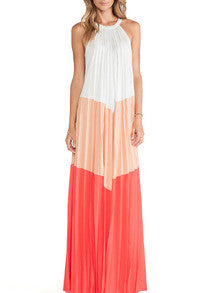 Multicolor Sleeveless Patchwork Pleated Maxi Dress - Crystalline