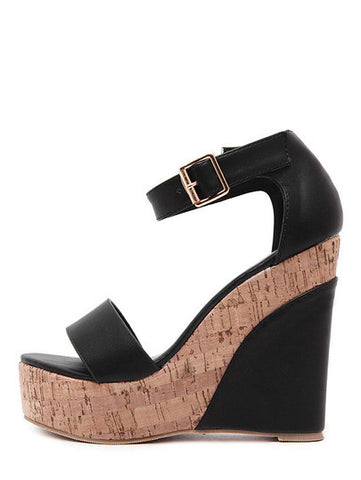 Black Peep Toe Ankle Stap Wedge Sandals - Crystalline