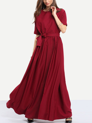 Burgundy Round Neck Maxi Dress - Crystalline