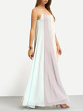 Multicolor Spaghetti Strap Patchwork Maxi Dress