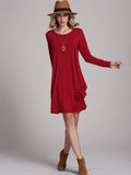 Burgundy Round Neck Shift Dress