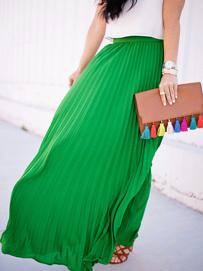 Green High Waist Pleated Maxi Skirt - Crystalline