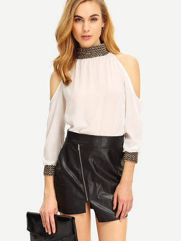White Cold Shoulder Sequined Chiffon Blouse - Crystalline