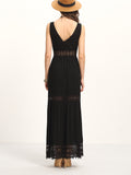 Black Lace Trimmed Buttoned Front Maxi Dress