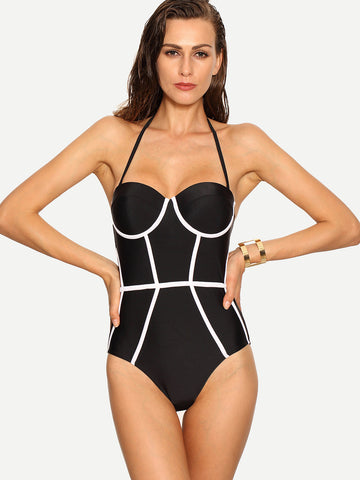 Black Bustier Halter Contrast One-Piece Swimwear