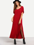 Burgundy Short Sleeve Split Shift Maxi Dress