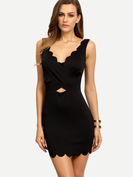 Black Scallop Design Sleeveless Dress - Crystalline