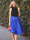 Blue Flare Pleated Midi Skirt - Crystalline