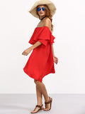 Red Off Shoulder High Low A-Line Dress