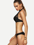 Black Mesh Insert Push-Up High Neck Bikini Set