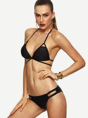Black Cutout Strappy Bikini Set