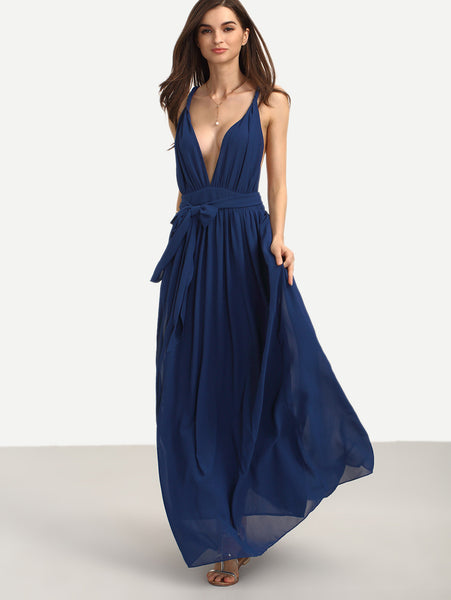 Navy Plunge Neckline Tie Waist Sleeveless Maxi Dress