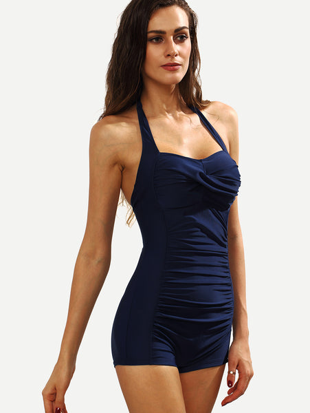 Navy Ruched Halter Neck One-Piece Swimwear