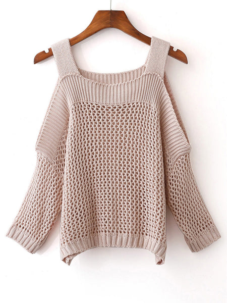 Apricot Cold Shoulder Gigot Sleeve Sweater