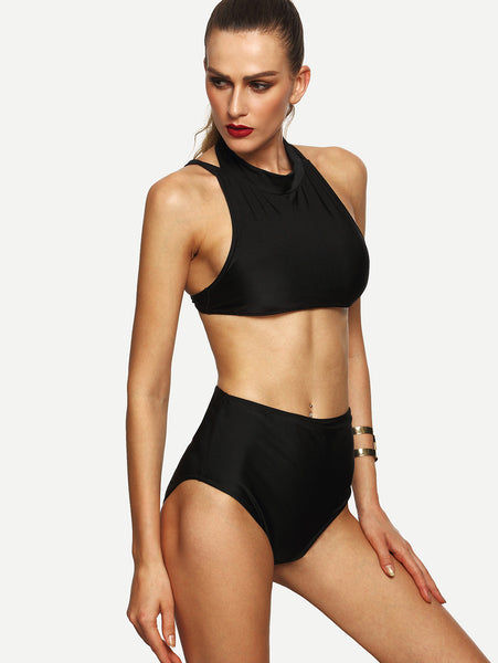 Black Halter Racerback High Waist Bikini Set