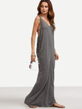 Grey V-Neck Split Backless Cutout Maxi Dress
