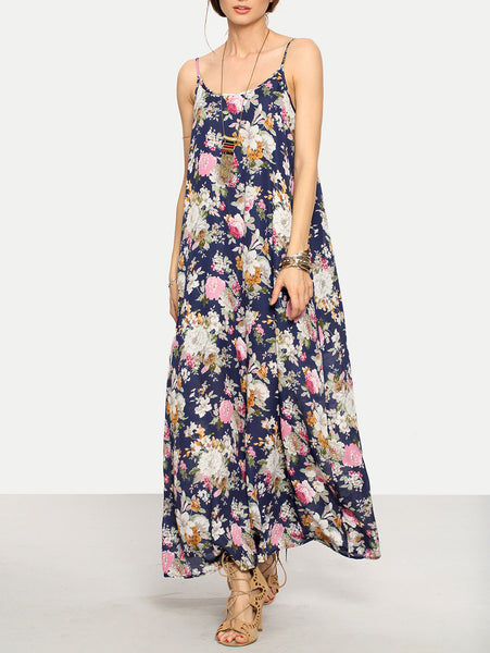 Navy Floral Print Double Scoop Cami Strap Maxi Dress