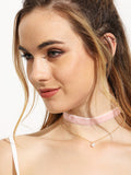 Two-layer Pearl Pendant Choker Necklace - Crystalline