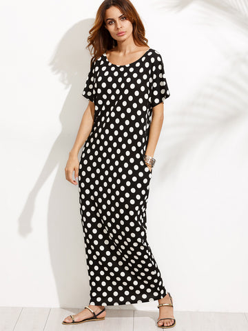 Black and White Round Neck Polka Dot Maxi Dress
