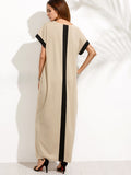 Apricot Colorblock Secret Pocket Short Sleeve Maxi Dress