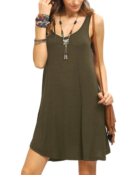 Army Green Cotton Swing Tank Dress