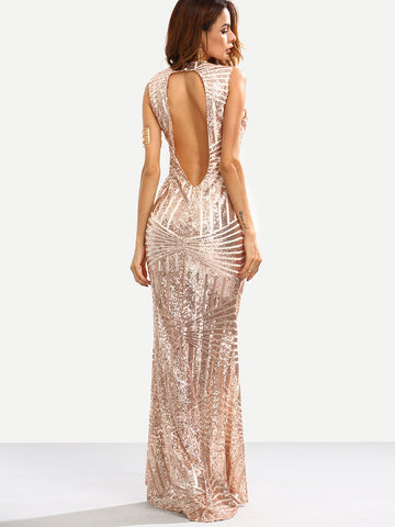 Rose Gold Sequins Embedded Cut Out Back Mermaid Dress - Crystalline