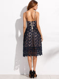 Navy Embroidered Lace Overlay Cami Dress - Crystalline