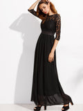 Black Lace Overlay Maxi Chiffon Dress - Crystalline