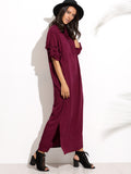 Burgundy Chinese Collar Side Slit Shirt Dress