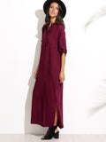 Purple Button Shirt Rolled Up Sleeves Side Slit Maxi Dress