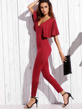 Burgundy Open Back Skinny Jumpsuit