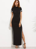 Black Short Sleeve Striped Trim Split Back Cutout Maxi Dress