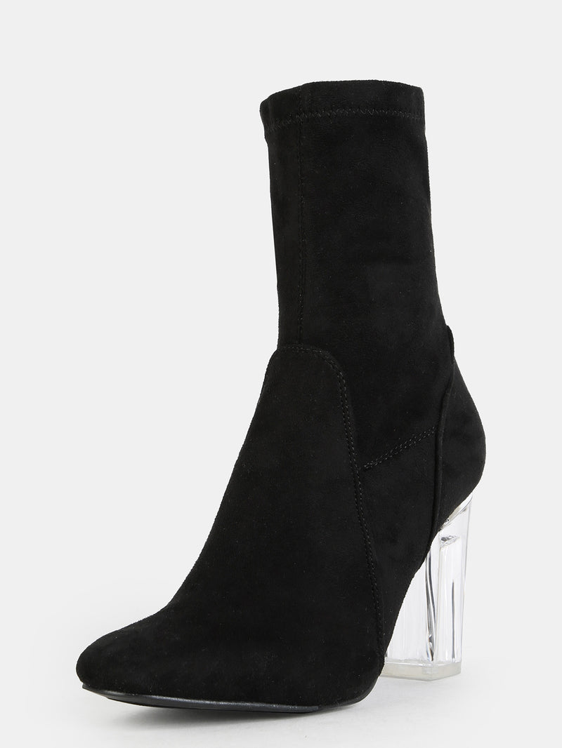 High Shaft Clear Heel Booties Black - Crystalline