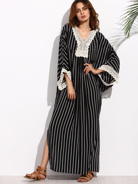 Black and White Stripe V-Neck Lace Hem Maxi Dress