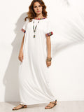 Beige Round Neck Short Sleeve Colorful Stripe Trim Maxi Dress