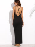 Black Sleeveless Crisscross Back Side Split Maxi Dress