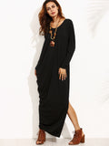 Black Split Side Asymmetrical Maxi Dress
