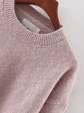 Round Neck Split Loose Sweater - Crystalline