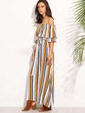 Multicolor Vertical Striped Off The Shoulder Ruffle Dress