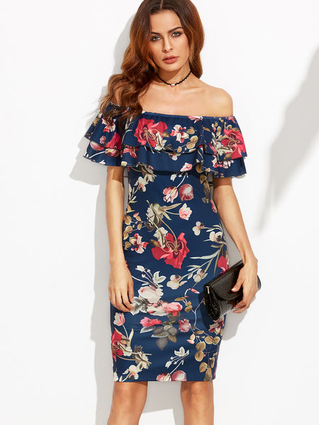 Floral Print Off The Shoulder Ruffle Sheath Dress - Crystalline
