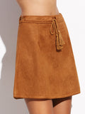 Camel Faux Suede Skirt With Tassel