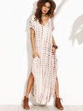 Coffee V Neck Dye Print Curved Hem Long Dress