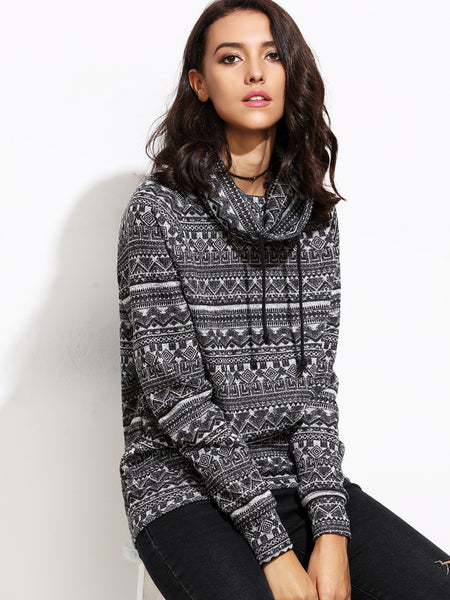 Geometric Print Cowl Neck Sweater