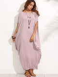 Purple Boat Neck Dolman Sleeve Long Dress