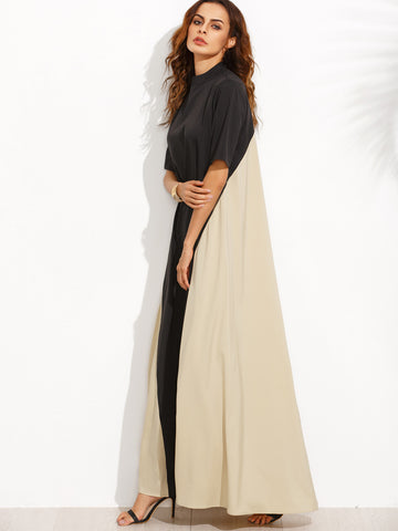 Black Color Block Tent Mock Neck Maxi Dress