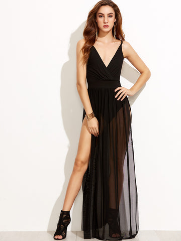 Black V Neck Strappy Back Split Dress - Crystalline